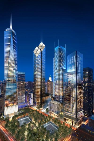 Компьютерный макет комплекса зданий ВТЦ из 6 высотных построек ночью. Фото: SPI, dbox via Getty Images