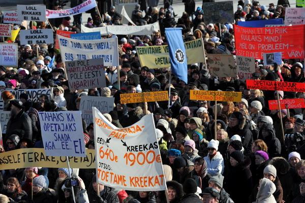 Эстонию охватила волна забастовок. Фото: RAIGO PAJULA/AFP/Getty Images