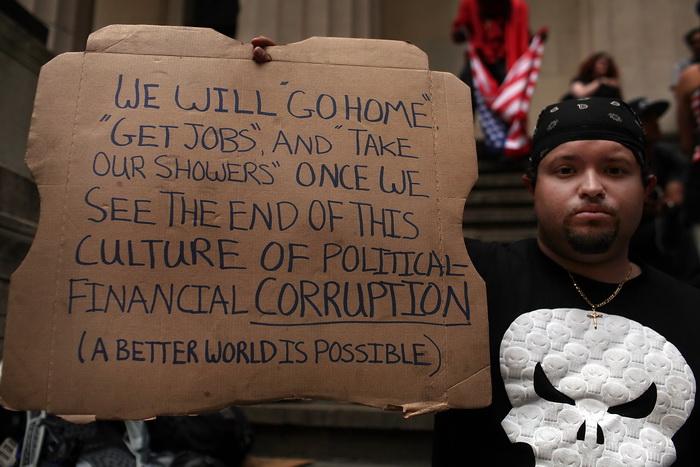 Протесты движения «Оккупируй Уолл-стрит» в Нью-Йрке 17 апреля 2012 года. Фото: Spencer Platt/Getty Images