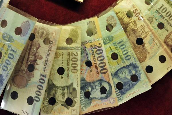 Венгры греются деньгами. Банкноты форинтов - венгерской национальной валюты. Фото: ATTILA KISBENEDEK/AFP/Getty Images
