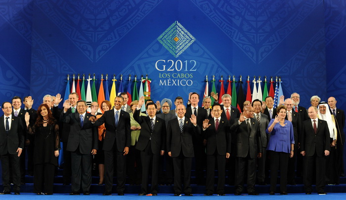 Участники встречи G20 в Лос-Кабос, Мексика. Фото: JEWEL SAMAD/AFP/GettyImages