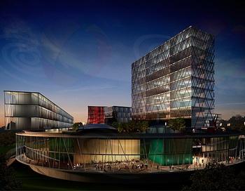 Комплекс здания Кампуса Сколково приночном освещении. Фото: www.ru.wikipedia.org