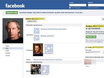 Террор в Норвегии. Страница арестованного Андерса Беринг Брейвика в социальной сети. Фото: spiegel.de