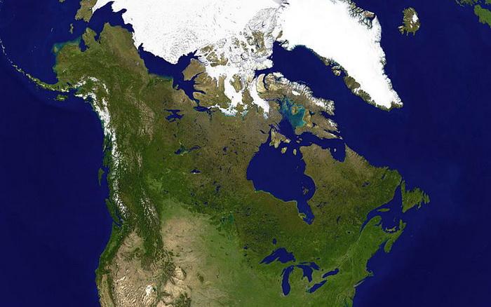 Спутниковый снимок Канады. Фото: NASA