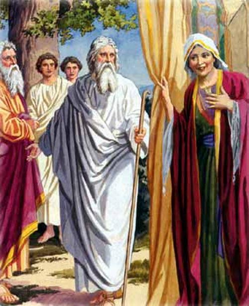 Сарра и Авраам встречают трёх ангелов. Иллюстрация: WikiMedia Commons