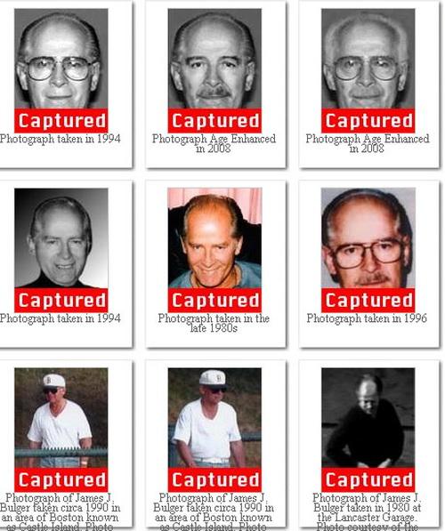 Фотографии бывшего лидера бостонской мафии Джеймса Балджера. Фото: FBI via Getty Images