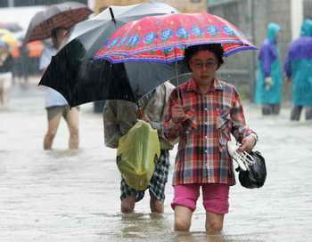 В результате разгула стихии разрушено около шести тысяч жилых домов, 23 тысячи человек остались без крова. Сильно пострадали сельскохозяйственные угодья. Сообщается, что 13,3 тысячи сельскохозяйственных земель выведены из строя, что нанесёт большой урон продовольственному снабжению населения на несколько ближайших лет. Фото: Chung Sung-Jun/Getty Images