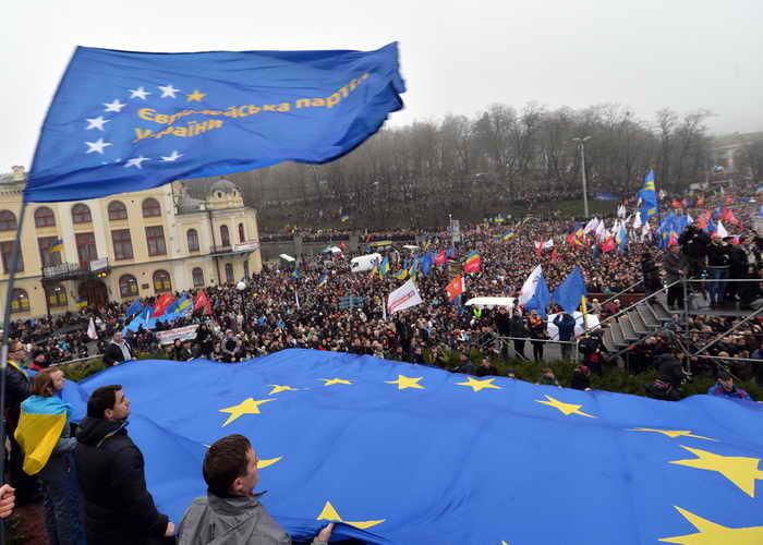 В Киеве началась бессрочная акция в поддержку вступления Украины в Евросоюз. Фото: ANATOLIY STEPANOV/AFP/Getty Images