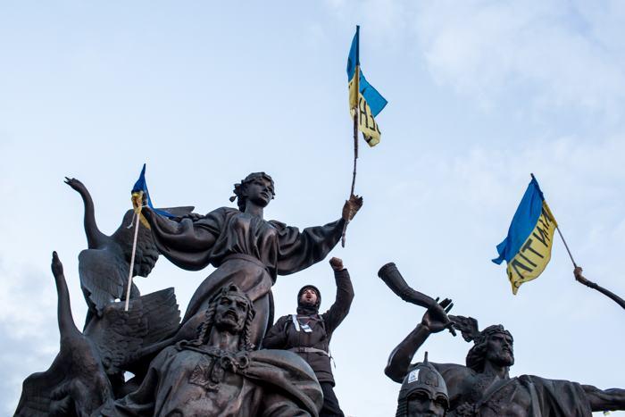 На Майдане в Киеве продолжается акция протеста 6 декабря 2013 года Фото: Brendan Hoffman/Getty Images