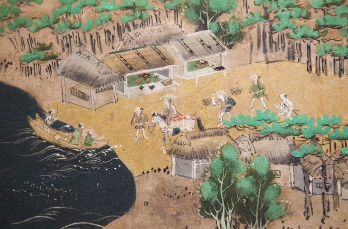 Деталь японской ширмы «Сцены великого восточного пути» периода Эдо, ок. 1700, галерея Эрика Томсена, Нью-Йорк, 12 марта, 2014. Фото: Samira Bouaou/Epoch Times
