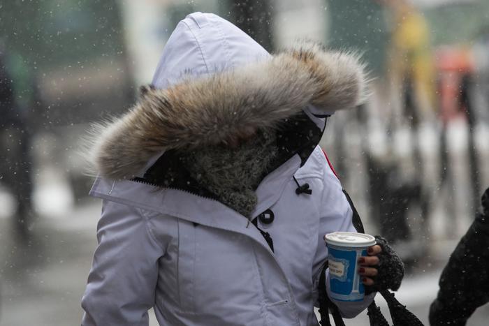 Быстродвижущийся холодный фронт принёс 21 января холода и метели в Нью-Йорк. Фото Фото: Andrew Burton/Getty Images