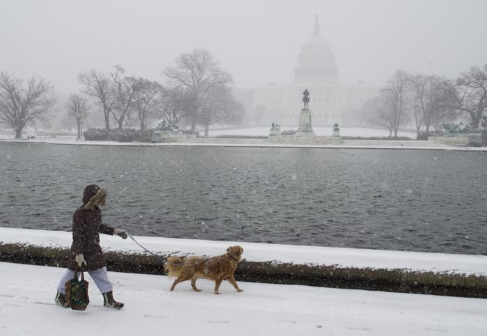 Быстродвижущийся холодный фронт принёс 21 января холода и метели в Вашингтон. Фото Фото: SAUL LOEB/AFP/Getty Images