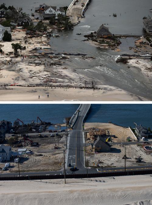 Год прошёл с того дня, когда на США 29 октября 2012 года обрушился ураган Сэнди. Нью-Йорк 31 октября 2012 года (сверху). Фото: Mario Tama / Getty Images. Нью-Йорк год спустя, 21 октября 2013 года. Фото: Andrew Burton / Getty Images