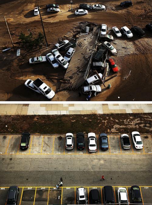 Год прошёл с того дня, когда на США 29 октября 2012 года обрушился ураган Сэнди. Нью-Йорк 2 ноября 2012 года (сверху) и Нью-Йорк год спустя, 20 октября 2013 года (снизу). Фото: Spencer Platt / Getty Images