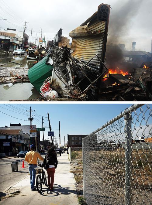 Год прошёл с того дня, когда на США 29 октября 2012 года обрушился ураган Сэнди. Нью-Йорк 2 ноября 2012 года (сверху) и Нью-Йорк год спустя, 23 октября 2013 года (снизу). Фото: Spencer Platt / Getty Images