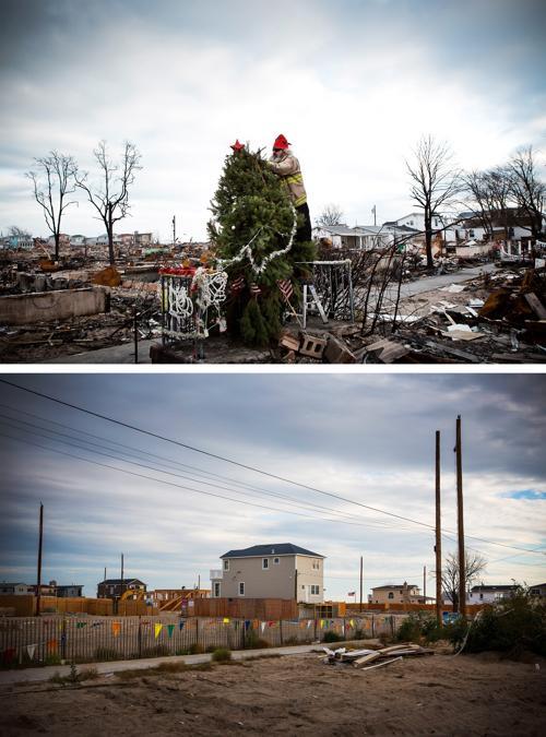 Год прошёл с того дня, когда на США 29 октября 2012 года обрушился ураган Сэнди. Нью-Йорк 29 октября 2012 года (сверху) и Нью-Йорк год спустя, 22 октября 2013 года (снизу). Фото: Andrew Burton / Getty Images