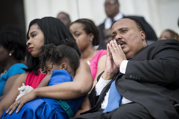 Мартин Лютер Кинг III на церемонии, посвящённой 50-летию со дня исторического «Марша Вашингтона», 28 августа 2013 года на Мемориале Линкольна в столице США. Фото: BRENDAN SMIALOWSKI/AFP/Getty Images