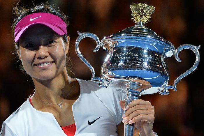 Чемпионка теннисного турнира Australian Open в Мельбурне китаянка Ли На, 25 января, 2014 год. Фото: SAEED KHAN/AFP/Getty Images