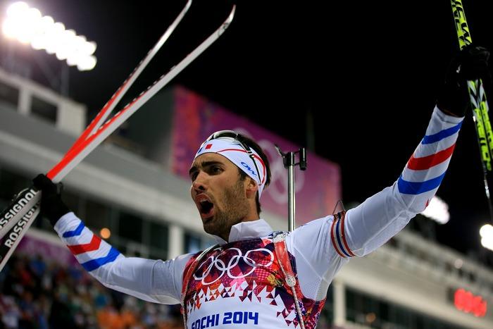 Мартен Фуркад — лидер гонки биатлонистов на 12,5 км среди мужчин, 10 февраля, 2014 год. Фото: Richard Heathcote/Getty Images