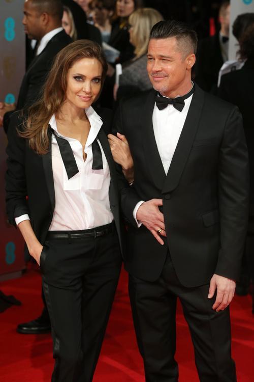 Анджелина Джоли с Брэдом Питтом прибыла в Лондон 16 февраля на церемонию вручения наград британской киноакадемии BAFTA  2014.Фото: Chris Jackson/Getty Images