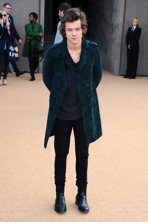 Гарри Стайлс прибыл на показ коллекции одежды классической британской марки Burberry Prorsum 17 февраля 2014 года на Неделе моды в Лондоне. Фото: Anthony Harvey/Getty Images