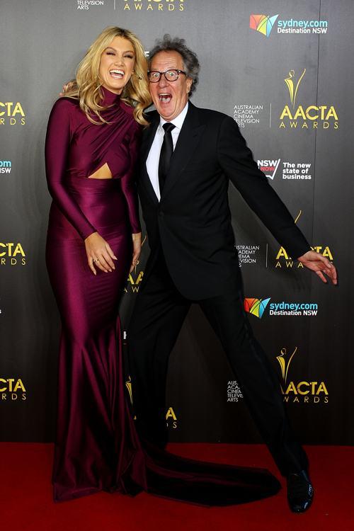 Джеффери Раш и Дельта Гудрем на церемонии вручения кинопремии AACTA 30 января 2014 года в Сиднее (Австралия). Фото: Lisa Maree Williams/Getty Images