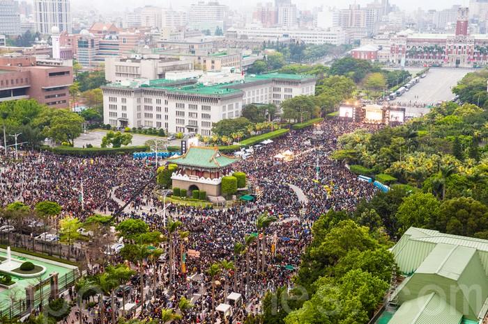 Массовые протесты в Тайване. Март 2014 года. Фото: The Epoch Times