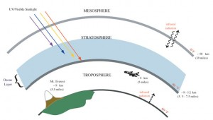 Диаграмма с изображением стратосферы и озонового слоя. Иллюстрация: NOAA