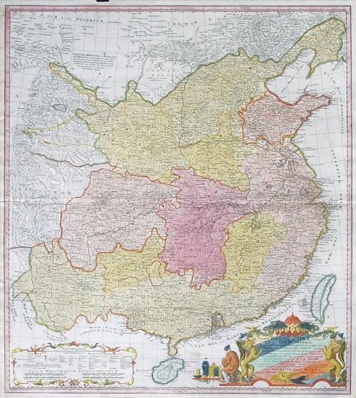 Карта Китая 1735 года, которую подарила китайскому генсеку Си Цзиньпину канцлер Германии Ангела Меркель