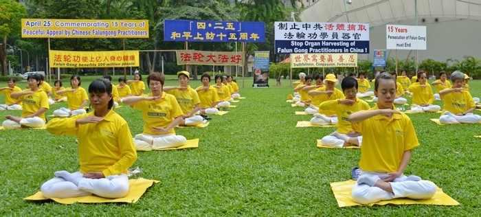 Последователи Фалуньгун Сингапура выполняют упражнение своей практики во время мероприятия, посвящённого 15-й годовщине со дня мирной апелляции к правительству 10 тысяч их единомышленников в Пекине. Апрель 2014 года. Фото: minghui.org