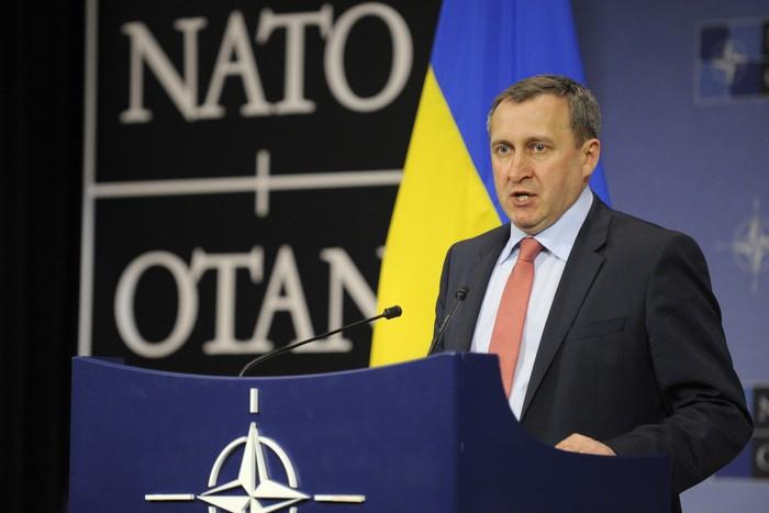 Исполняющий обязанности министра иностранных дел Украины Андрей Дешица во время пресс-конференции в рамках встречи глав МИД в штаб-квартире НАТО в Брюсселе, 1 апреля, 2014 год. Фото: JOHN THYS/AFP/Getty Images