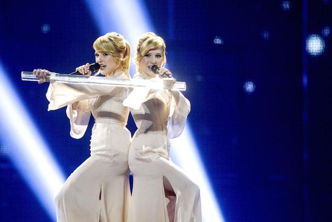 Сёстры Толмачёвы вышли в финал «Евровидения», 6 мая 2014, Копенгаген, Дания. Фото: BAX LINDHARDT/AFP/Getty Images