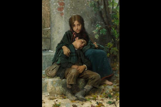 Картина «Выгнанные на холод» Леона Базиля Перро (1832-1908). Фото: Courtesy of Art Renewal Center