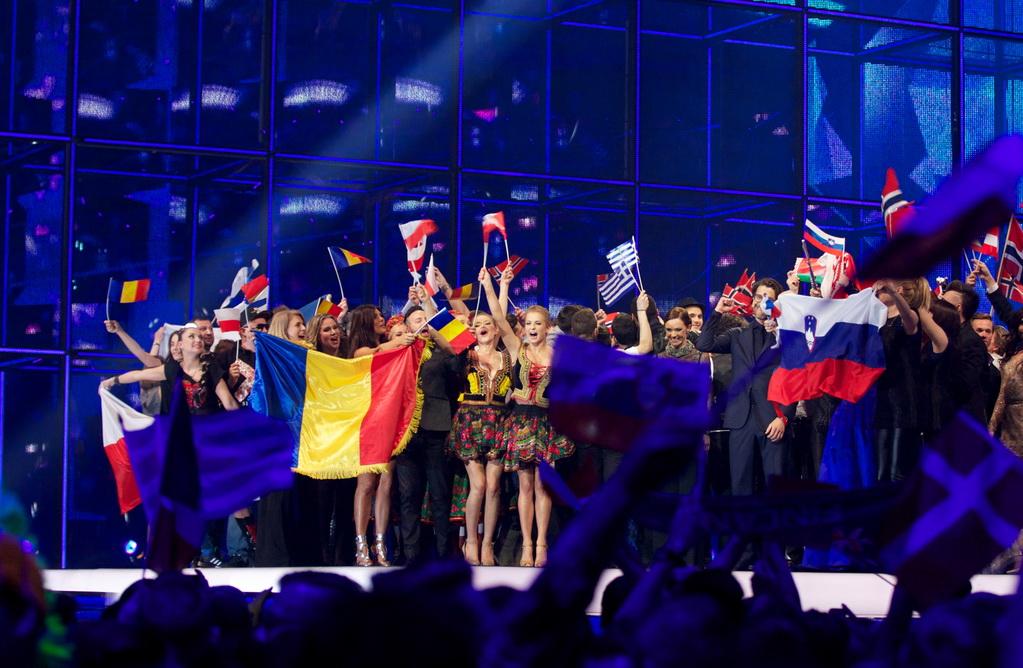 На сцене участники второго полуфинала, прошедшие в финал конкурса песни Евровидение 2014.  8 мая 2014, Копенгаген, Дания. Фото: Ragnar Singsaas/Getty Images