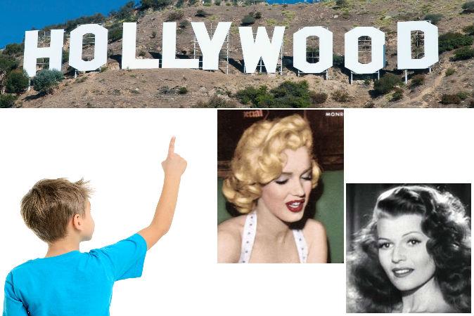 Мальчик и надпись «Голливуд». Фото: Shutterstock*. Актрисы Мерилин Монро и Рита Хейворт. Фото: Wikimedia Commons