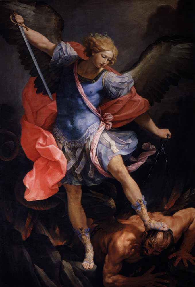 Reni_the_archangel_michael_defeating_satan_1635_293x202cm_ooc_Santa_Maria_della_Concezione-large