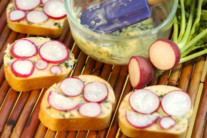 бутерброды, редиска