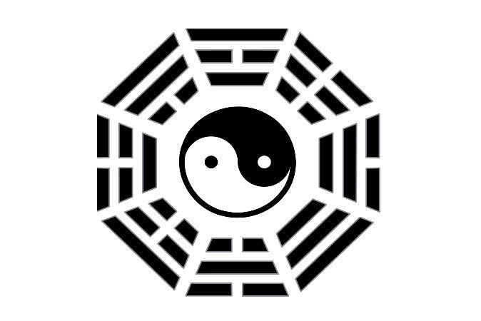 Восемь триграмм окружают символ инь-ян