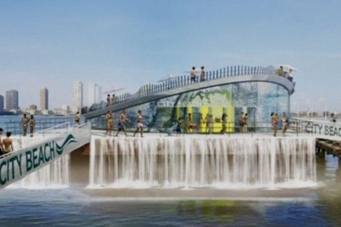 На водах реки Гудзон в Нью-Йорке появится плавающий пляж с водопадом