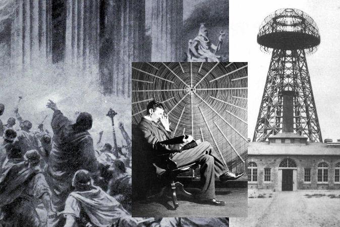 Слева: иллюстрация сожжения Александрийской библиотеки в 391 году нашей эры (Фото: Ambrose Dudley/Wikimedia Commons). В центре: Никола Тесла (Фото: Wikimedia Commons). Справа: Башня Ворденклиф, одна из незавершённых работ Теслы (Фото: Wikimedia Commons).