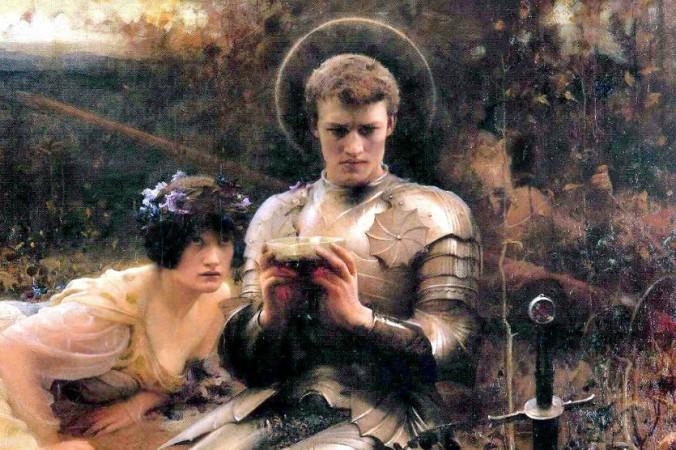 Парцифаль держит Грааль, а дьявол, принявший обличие женщины, пытается его соблазнить. Картина Артура Хакера, 1894 г. Фото: Wikimedia Commons