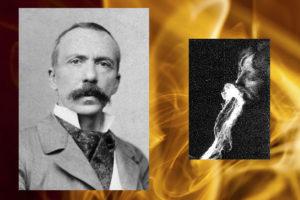 Слева: Шарль Робер Рише, 1905 г. Фото: Wikimedia Commons. Справа: Предположительное выделение  и поглощение эктоплазмы медиумом, которое наблюдал немецкий физик Альберт фон Шренк-Нотцинг в 1913 г.