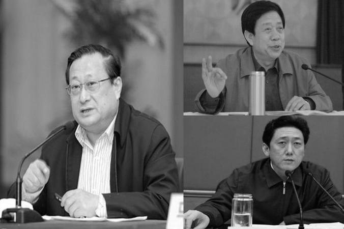 Три высокопоставленных чиновника в провинции Шаньси были уволены 23 августа в ходе антикоррупционной кампании: это Не Чуньюй (слева), секретарь комитета КПК провинции, Чэнь Чуаньпин (справа снизу), секретарь комитета КПК города Тайюань, и Лю Суйцзи (справа вверху), секретарь политико-юридической комиссии в Тайюане. Фото: скриншот/ifeng.com и 163.com
