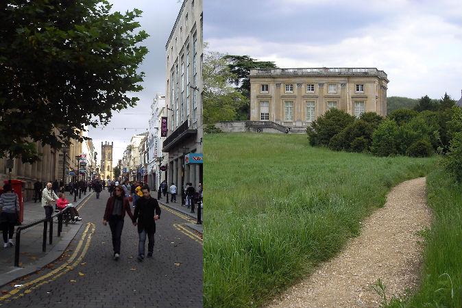 Слева: Болд-стрит, Ливерпуль, Англия, где неоднократно сообщили о случаях перемещения во времени. Справа: Малый Трианон, где в 1901 г. Две женщины попали в прошлое. Фото: Wikimedia Commons
