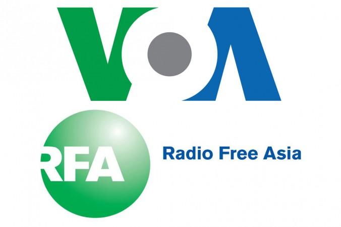 Логотипы радиостанций «Голос Америки» (VOA) и «Радио Свободная Азия» (RFA). Фото: Epoch Times