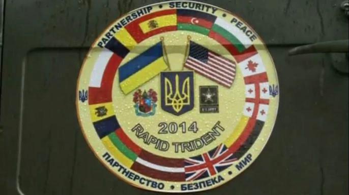 Украина и страны-союзники НАТО проводят совместные учения в Львовской области. Скриншот видео.
