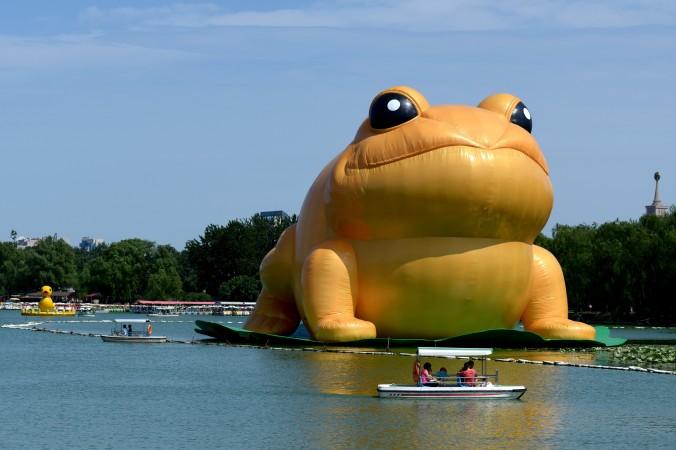 22-метровая надувная «большая золотая жаба» в пекинском парке Юйюаньтань, 21 июля 2014 года. По мнению многих китайцев, выход нового фильма «Варёная золотая жаба» указывает на то, что бывший диктатор Цзян Цзэминь находится в опасности. Фото: Wang Zhao/AFP/Getty Images