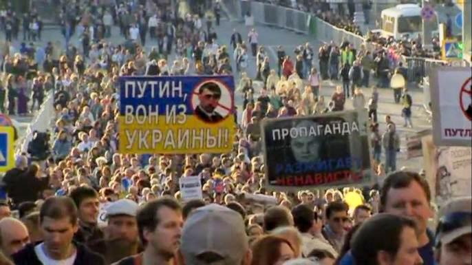 """Московский """"Марш мира"""" собрал десятки тысяч человек. Скриншот видео."""