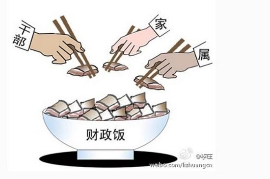 Карикатура на китайских чиновников и их родственников, которые берут себе деньги из большой чаши государственных средств. Рисунок с weibo.com
