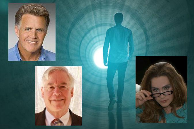 Медицинские работники  во время конференции IAND  2014 обсудили проблему  переживаний во время клинической смерти. Среди участников дискуссии были д-р Дж. Тимоти Грин (наверху слева), Ли Виттинг (ведущий, слева внизу) и Эрика МакКензи (справа). Фото:  Shutterstock*